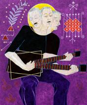 Susan Jephcott, Bo Diddly Guitar Acrylic on Canvas 40
